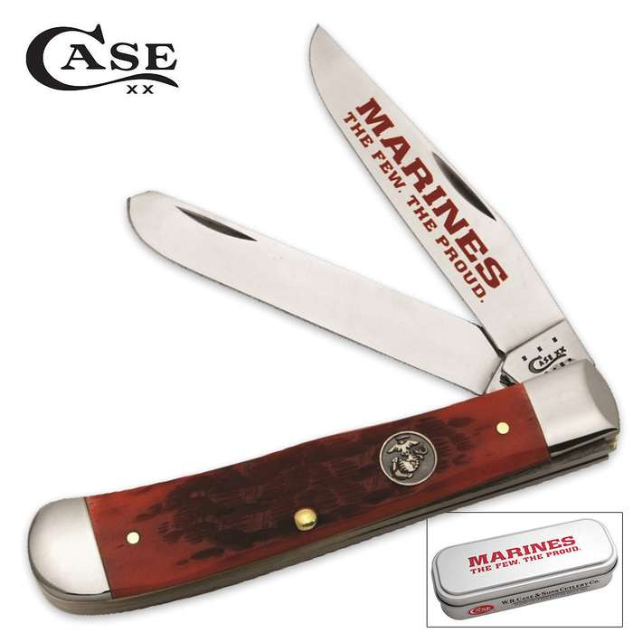 Case Peach Seed Jigged Dark Red Bone Handle USMC Trapper Knife With Gift Tin