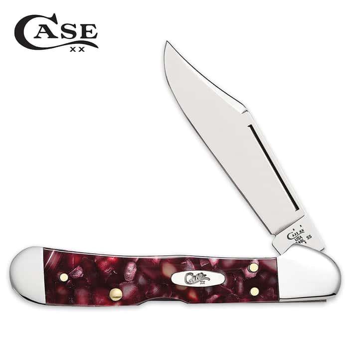 Case Smooth Cranberry Kirinite Mini Copperlock Pocket Knife