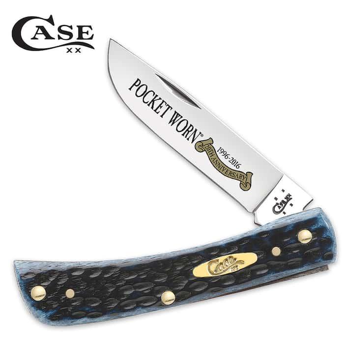 Case Pocket Worn Denim Bone Sod Buster Jr. Pocket Knife