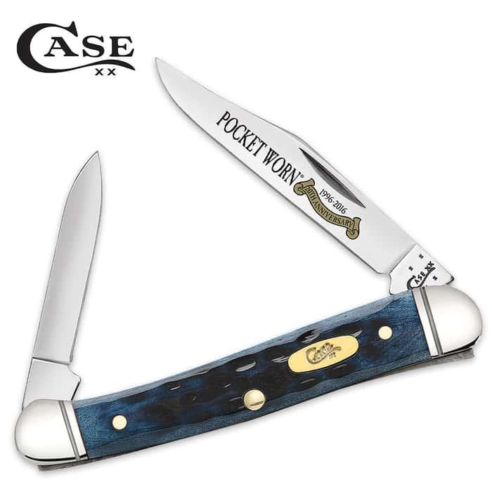 Case Pocket Worn Denim Bone Mini CopperLock Pocket Knife