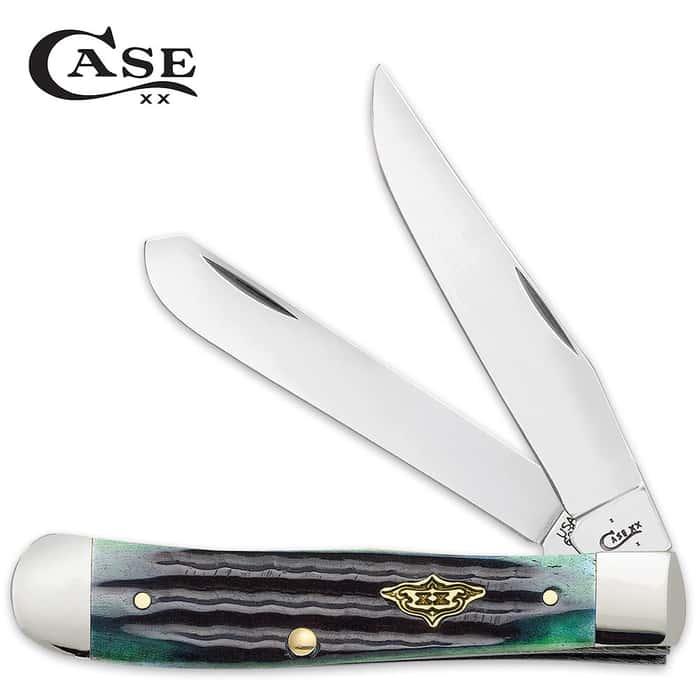 Case Hunter Green Bone Trapper Pocket Knife