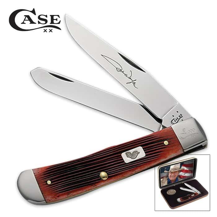 Case John Wayne Barnboard Bone Trapper Gift Set
