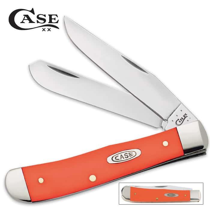 Case Smooth Orange Synthetic Trapper Folding Pocket Knife