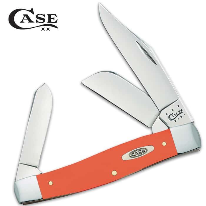 Case Smooth Orange Synthetic Large Stockman Folding Pocket Knife