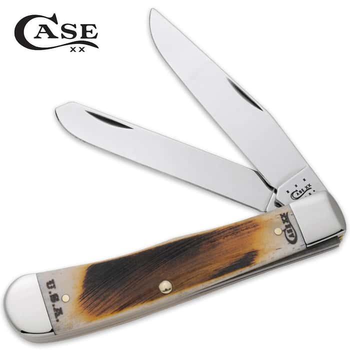 Case Amber Bone Rancher CV Trapper Pocket Knife