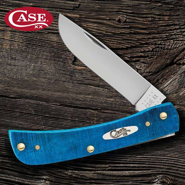 Case Caribbean Blue Sod Buster Jr Pocket Knife - Surgical Stainless Steel Skinner Blade, Jigged Bone Handle Scales