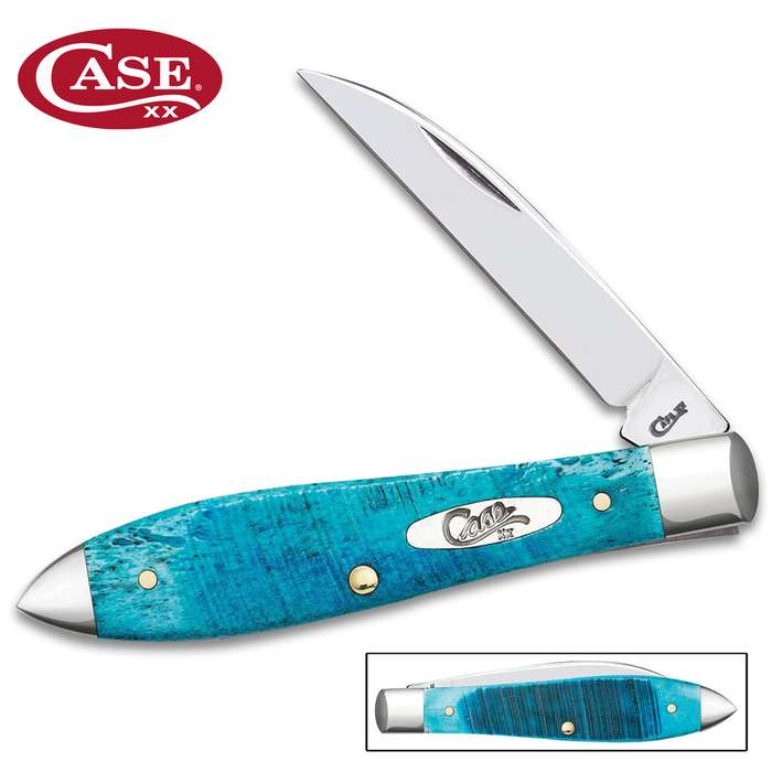 Case Caribbean Blue Tear Drop Pocket Knife - Surgical Stainless Steel Blade, Jigged Bone Handle Scales