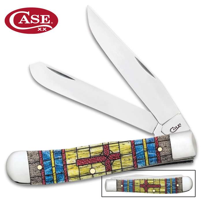 Case Stained Glass Cross Trapper Pocket Knife Gift Set - Surgical Stainless Steel Blades, Natural Bone Handle Scales