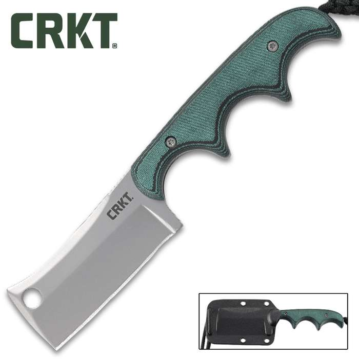 This compact neck knife with tough handles has been given a throwback cleaver blade that sparks campfire conversation