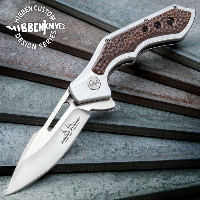 Hibben Hurricane Pocket Knife - 7Cr17 Stainless Steel Blade, CNC Machined, Ball Bearings, Tan And Black G10 Handle Scales