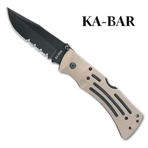 KA-BAR Desert Mule Serrated Folding Pocket Knife