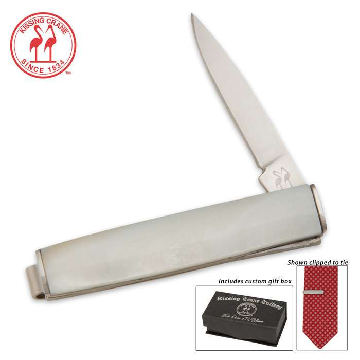 Kissing Crane Tie Money Clip Knife Pearl Pocket Knife