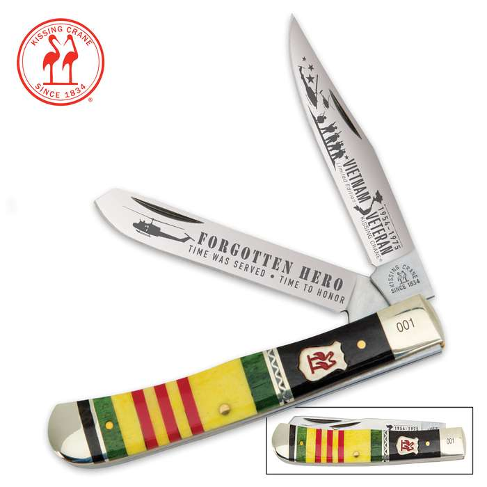 Kissing Crane Forgotten Hero Vietnam Veteran Trapper Pocket Knife