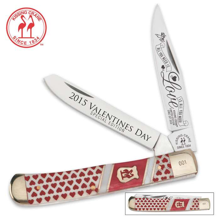 Kissing Crane Limited Edition 2015 Valentines Day Trapper Folding Pocket Knife