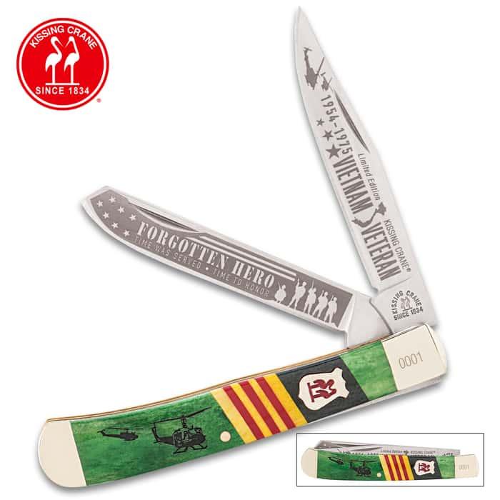 Kissing Crane Limited Edition 2016 Vietnam Veteran Trapper Folding Pocket Knife