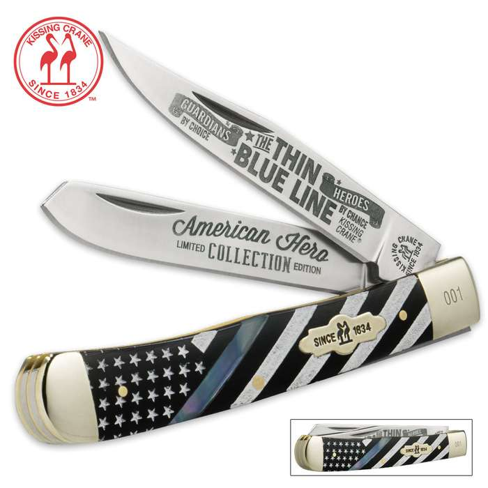 Kissing Crane Thin Blue Line Police Trapper