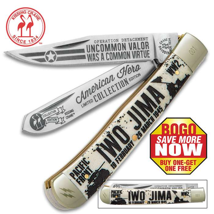 Kissing Crane Iwo Jima Trapper Pocket Knife - BOGO