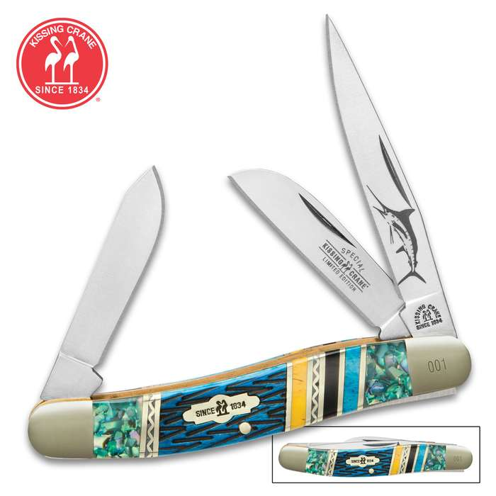Kissing Crane Bahama Blue Stockman Pocket Knife - 440 Stainless Steel Blades, Genuine Abalone, Bone Handle, Brass Liners, Polished Bolsters, Individually Serialized