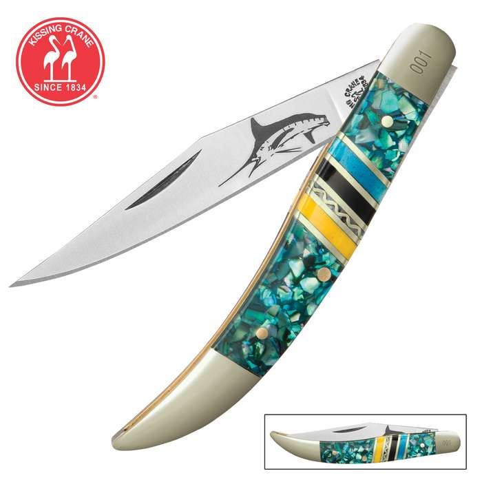 Kissing Crane Bahama Blue Toothpick Pocket Knife - Stainless Steel Blades, Genuine Bone Handle, Brass Liners, Polished Bolsters, Individually Serialized