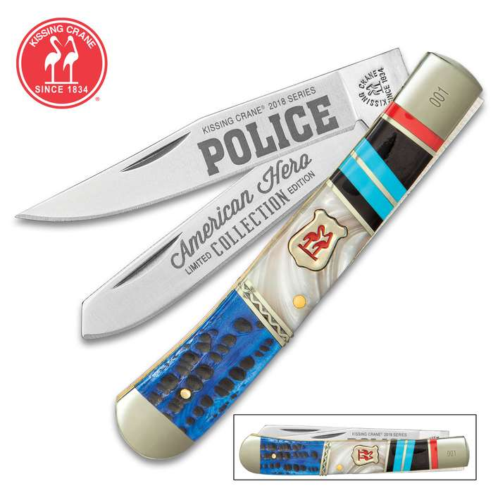Kissing Crane Police Officer Trapper Pocket Knife
