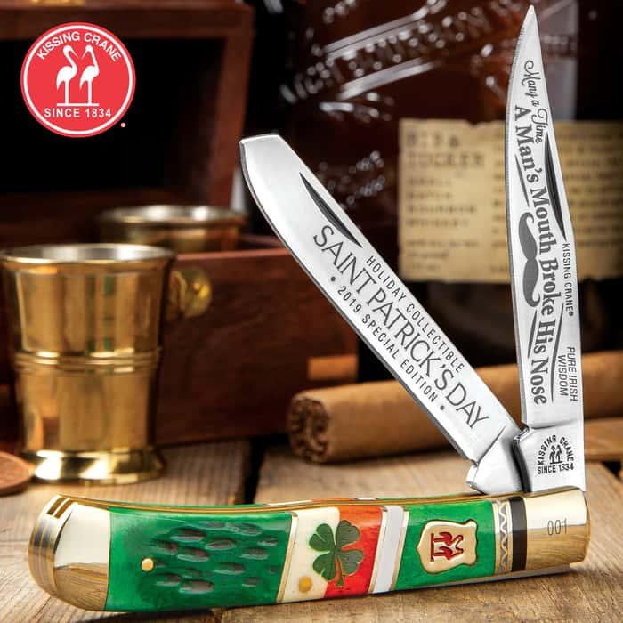 Kissing Crane 2019 Saint Patty's Day Trapper Pocket Knife