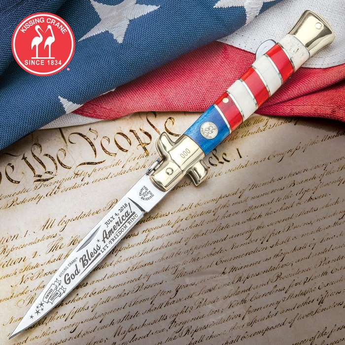 Kissing Crane 2018 Fourth Of July Stiletto Pocket Knife - Stainless Steel Blade, Genuine Bone Handle, Nickel Silver Bolsters, Brass Liner