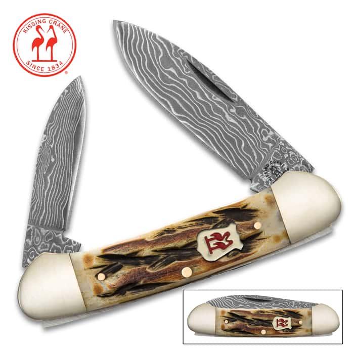 Kissing Crane Burnt Bone Canoe Pocket Knife