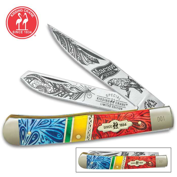 Kissing Crane Macaw Trapper Pocket Knife - Stainless Steel Blades, Bone Handle Scales, Nickel Silver Bolsters, Brass Liners