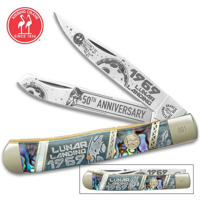 Kissing Crane® Lunar Landing Anniversary Trapper Pocket Knife - Stainless Steel Blades, Bone And Abalone Handle Scales, Nickel Silver Bolsters