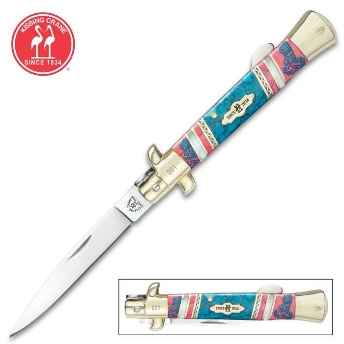 Kissing Crane Pretty In Pink Stiletto Knife - Stainless Steel Blade, Bone And Ceramic Handle Scales, Polished Brass Bolsters