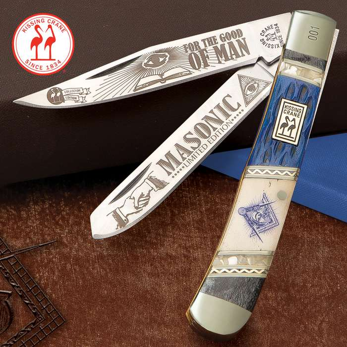 Kissing Crane 2020 Masonic Trapper Pocket Knife - Stainless Steel Blades, Bone And Pearl Handle Scales, Nickel Silver Bolsters