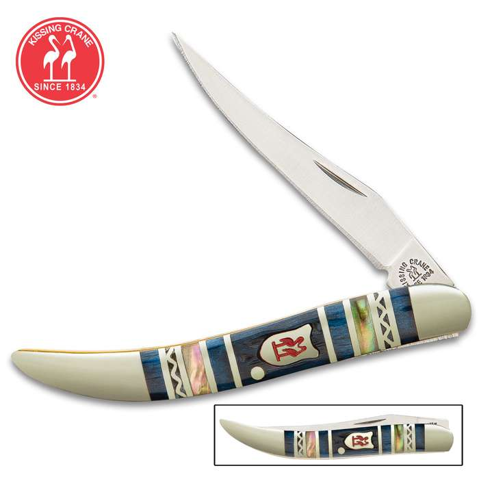Kissing Crane Blue Ridge Mountains Toothpick Pocket Knife - Stainless Steel Blade, Jigged Bone Handle Scales, Nickel Silver Bolsters