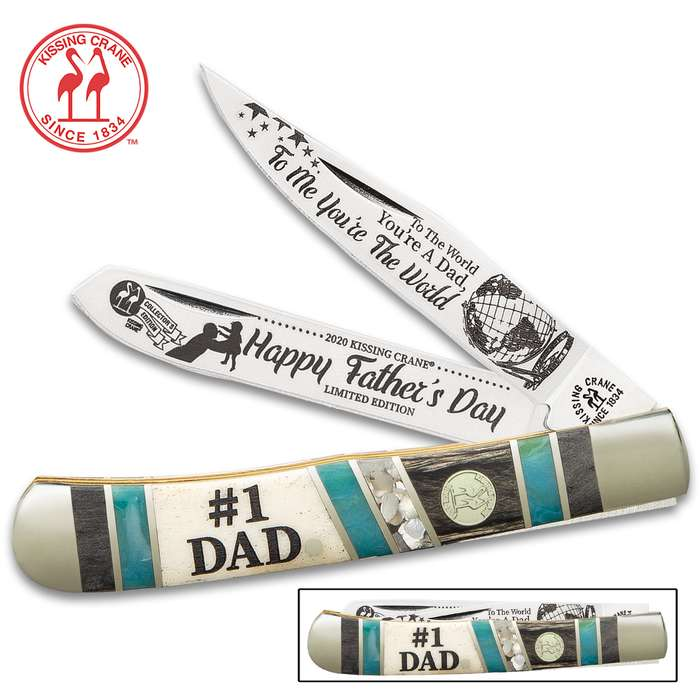 Kissing Crane 2020 Father's Day Trapper Pocket Knife - Stainless Steel Blades, Bone Handle Scales, Nickel Silver Bolsters, Brass Pins