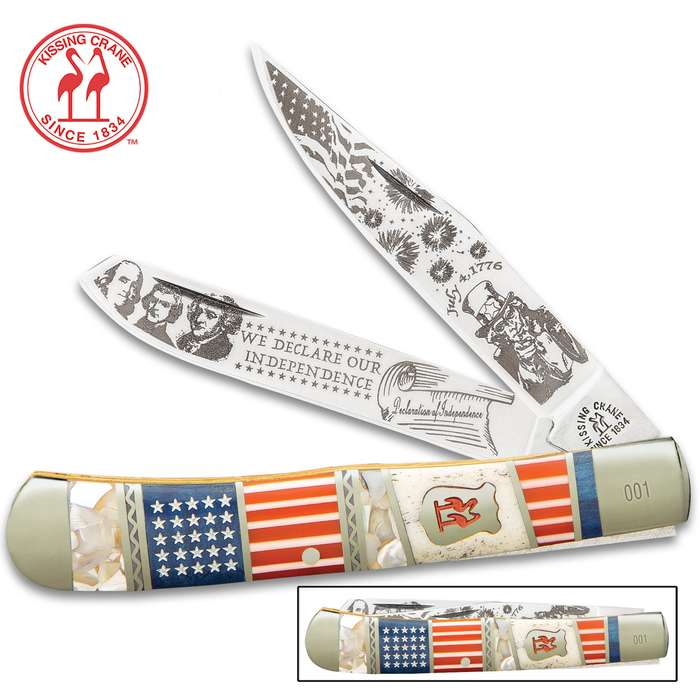 Kissing Crane 2020 Fourth Of July Trapper Pocket Knife - Stainless Steel Blades, Bone Handle Scales, Nickel Silver Bolsters, Brass Pins