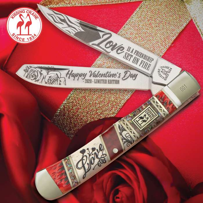 Kissing Crane 2020 Valentine's Day Trapper Pocket Knife - Stainless Steel Blades, Bone And Exotics Handle, Nickel Silver Bolsters, Individually Serialized
