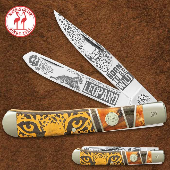 Kissing Crane Limited Edition Leopard Trapper Pocket Knife - Stainless Steel Blades, Bone And Acrylic Handle, Nickel Silver Bolsters