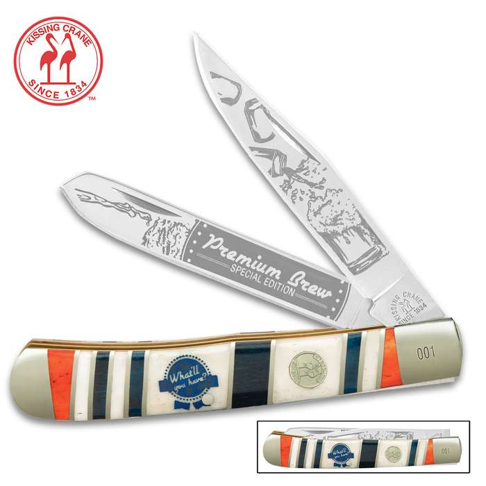 The Kissing Crane Premium Brew Trapper Pocket Knife pays tribute to American's classic favorite happy hour beverage