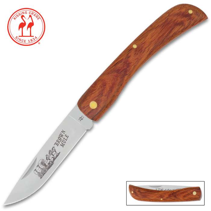 Kissing Crane Medium Brown Mule Pocket Knife