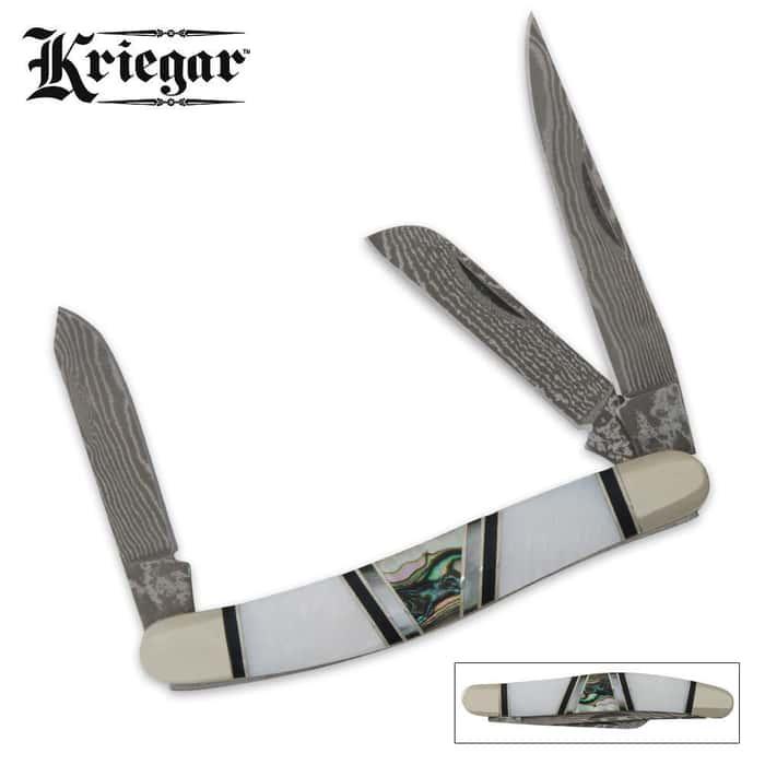 Kriegar  Real Pearl Abalone Damascus Stockman Pocket Knife