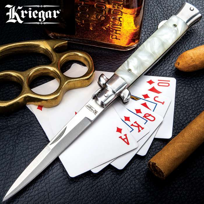Kriegar High-Roller Stiletto Pocket Knife - Imitation Pearl