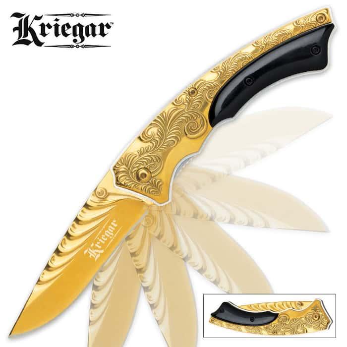 Kriegar Gentlemans Assisted Opening Pocket Knife Gold