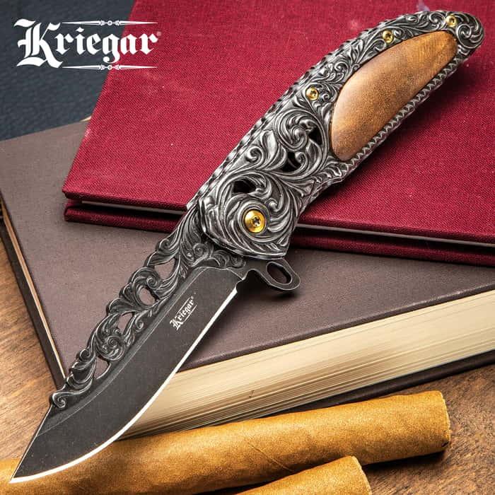 Kriegar Cavalier Dusk Assisted Opening Pocket Knife - Dusky Black with Burled Elm Inlays