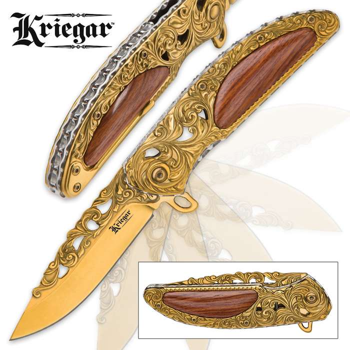 Kriegar Cavalier Gold Assisted Opening Pocket Knife - Gold-Colored with Heartwood Inlays
