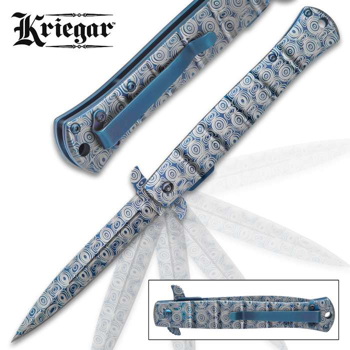 Kriegar Blue DamascTec Stiletto Pocket Knife - Stainless Steel Blade And Handle, Damastec Finish, Assisted Opening