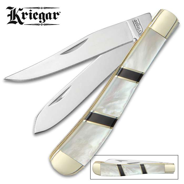 Kriegar Ascot Trapper Pocket Knife - Stainless Steel Blades, Genuine Mother Of Pearl Handle, Brass Liners, Nickel Silver Bolsters
