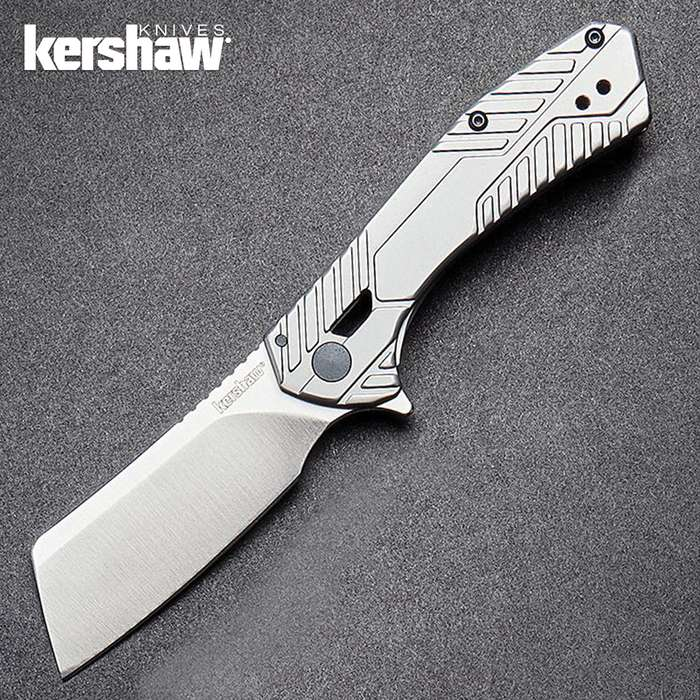 Kershaw Static Pocket Knife - 8Cr13MoV Steel Blade, Manual Ball Bearing Opening, Machined Steel Handle - Closed 3 9/10""