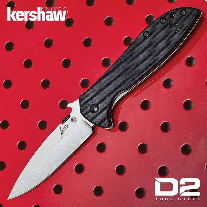 XL Kershaw Emerson D2 Pocket Knife - D2 Tool Steel Blade, G10 and Stainless Steel Handle, Manual Opening - Closed 5""