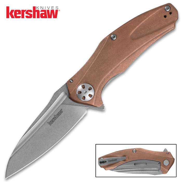 The Kershaw Copper Natrix Pocket Knife features genuine copper handles that will patina over time for a unique finish
