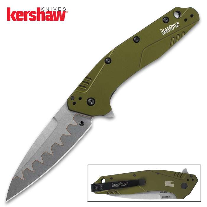 The Kershaw Dividend Olive Green Pocket Knife is more striking than ever with its new composite blade and machined and anodized aluminum handle