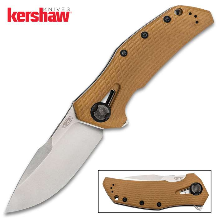 Zero Tolerance Coyote Tan Pocket Knife - CPM 20CV Steel Blade, G10 And Titanium Handle, Manual KVT Ball Bearing Opening - Closed 5 1/5""